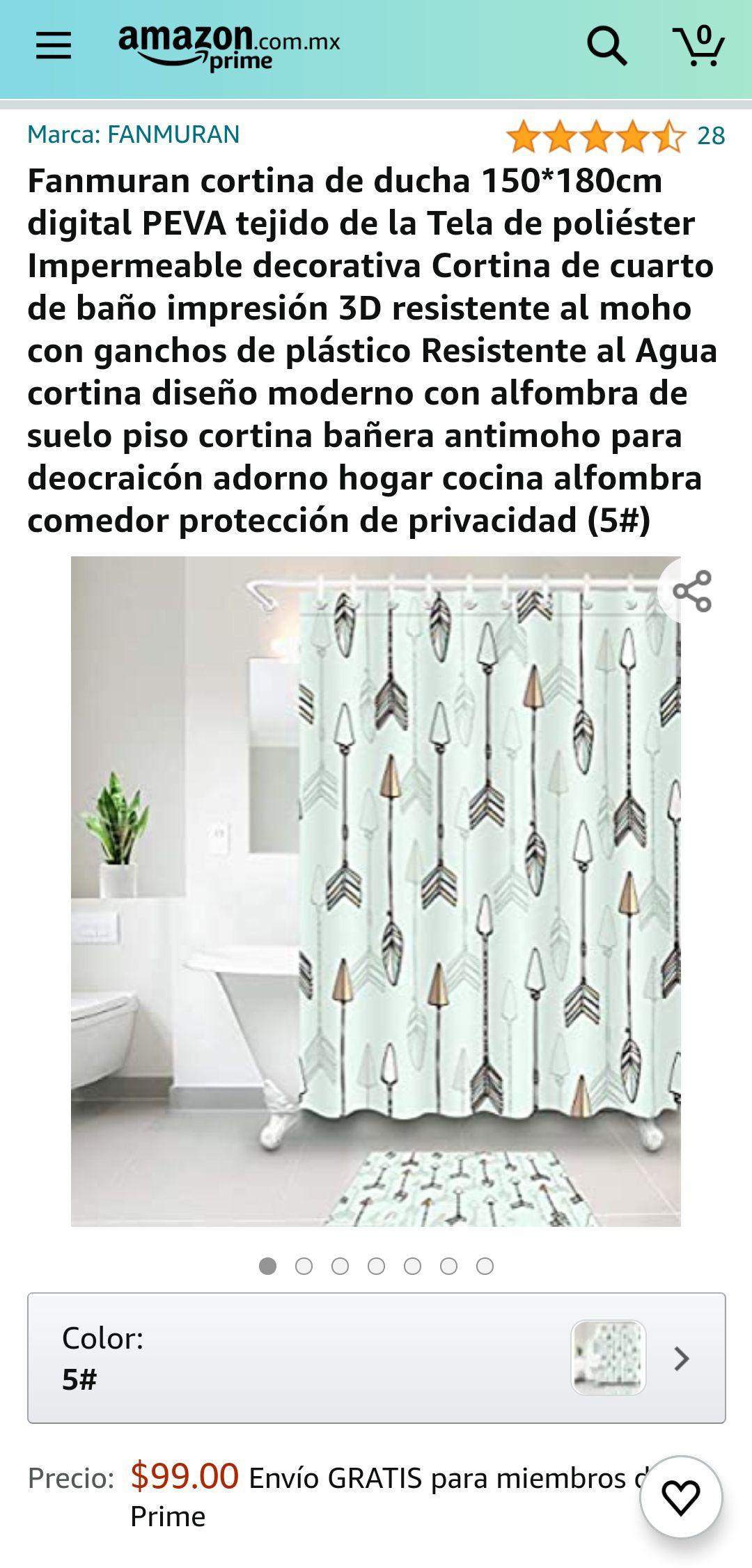 Amazon: Cortina para baño