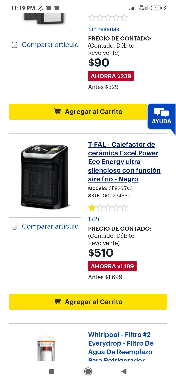 Best Buy: T-FAL - Calefactor de cerámica Excel Power Eco Energy ultra silencioso con función aire frio - Negro