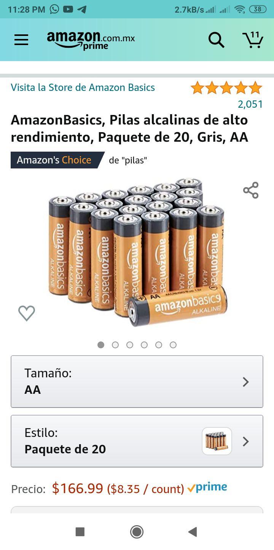 Amazon: 20 Pilas alcalinas AA Amazon Basics Performance