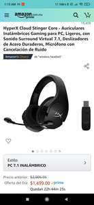 Amazon: HyperX Cloud Stinger Core - Auriculares Inalámbricos Gaming para PC, Ligeros, con Sonido Surround Virtual 7.1