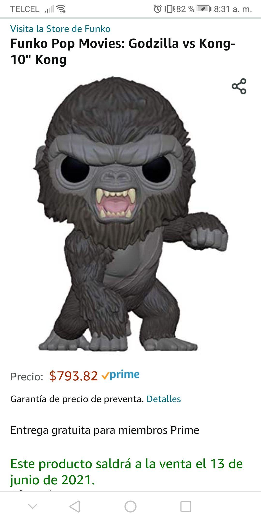 "Amazon, RESERVA: Funko Pop Movies: Godzilla vs Kong- 10"" Kong"