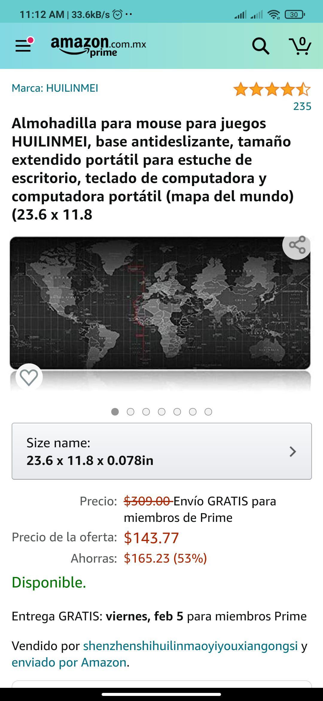 Amazon: Almohadilla para mouse para juegos HUILINMEI
