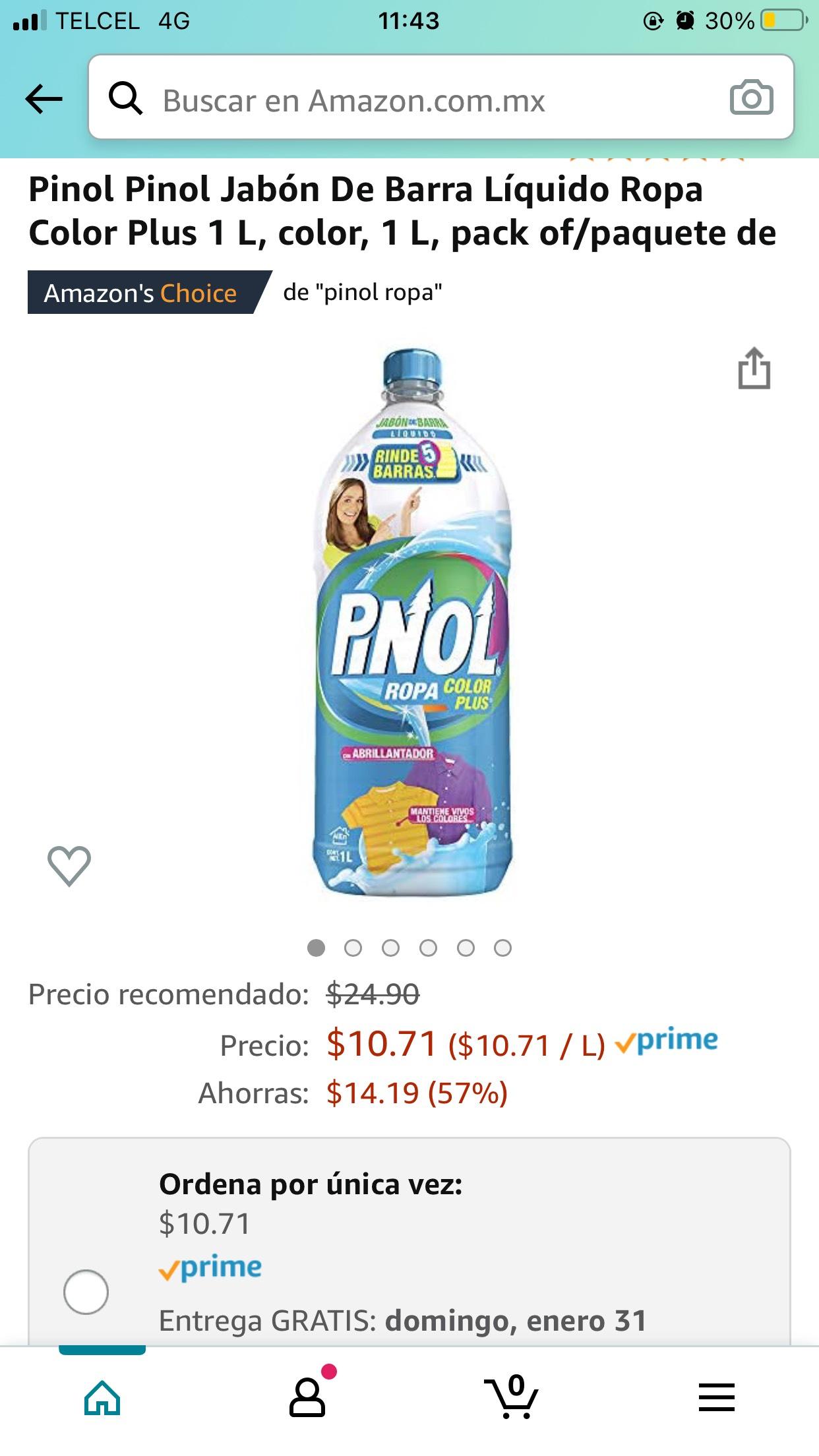 Amazon: Pinol detergente liquido ropa de color