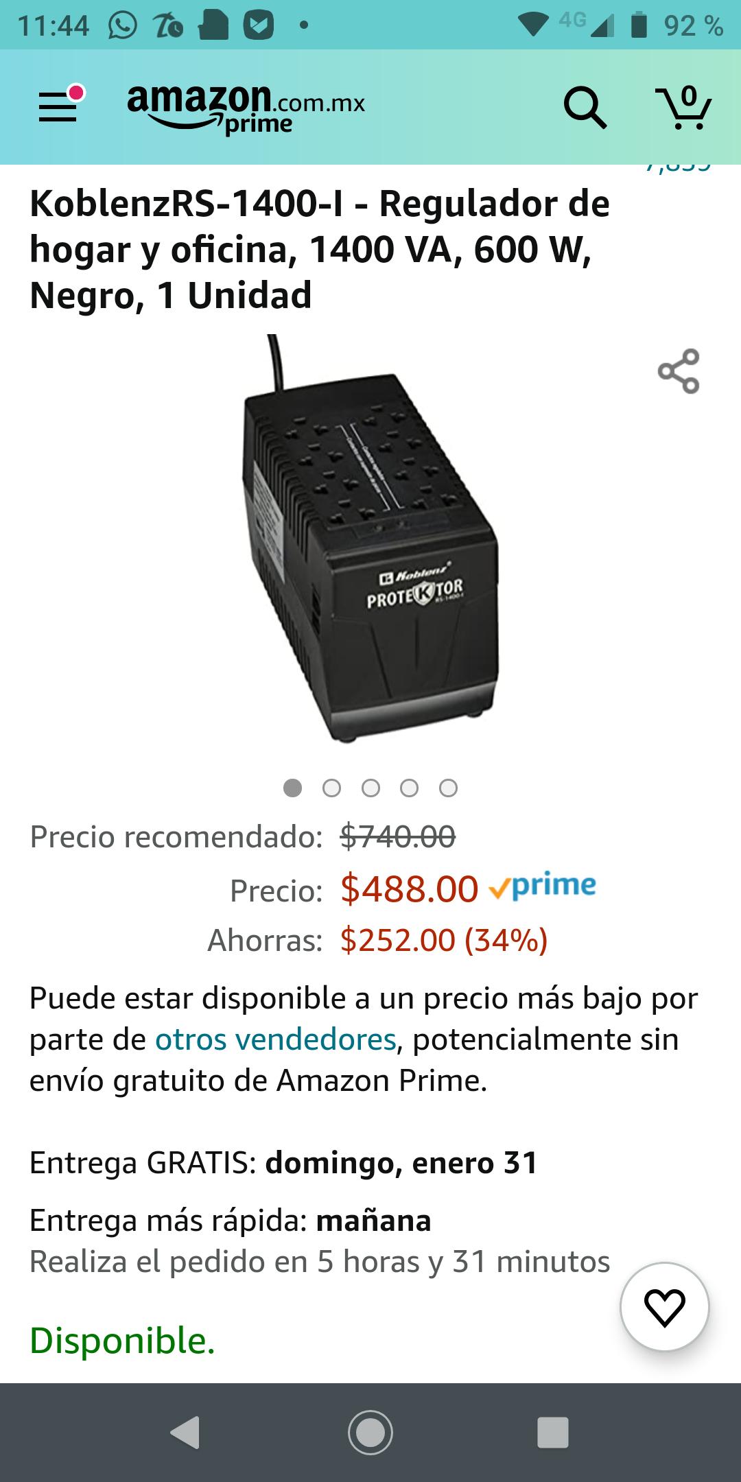 Amazon: KoblenzRS-1400-I - Regulador de hogar y oficina, 1400 VA, 600 W, Negro, 1 Unidad Con envío gratis con prime