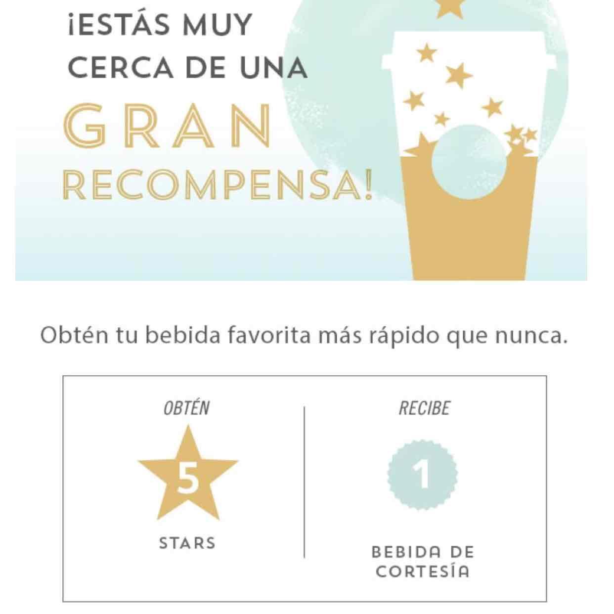 Starbucks: bebida gratis cada 5 stars