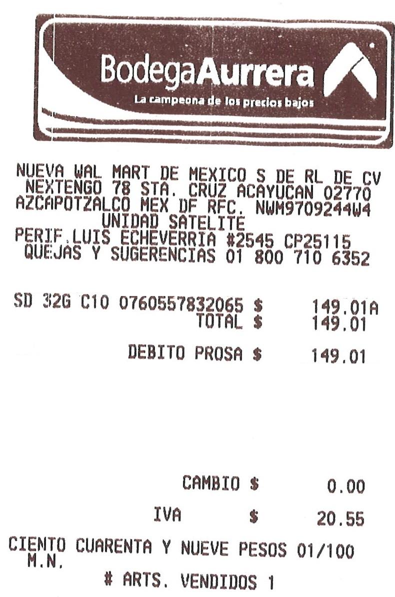 Bodega Aurrerá: Tarjeta de memoria SD, Transcend C10 de 32G a $149.01