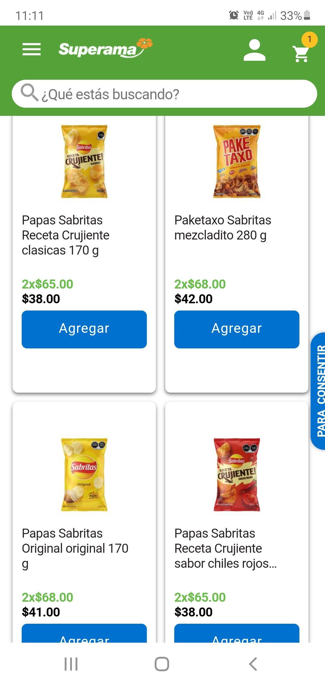 WALMART Y SUPERAMA 2 PACK DE LA MARCA SABRITAS EN $ 68 TIENDA FÍSICA Y EN LINEA