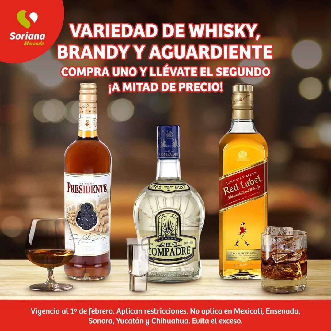 Soriana Mercado y Express: 2 x 1½ en variedad de whisky, brandy y aguardiente
