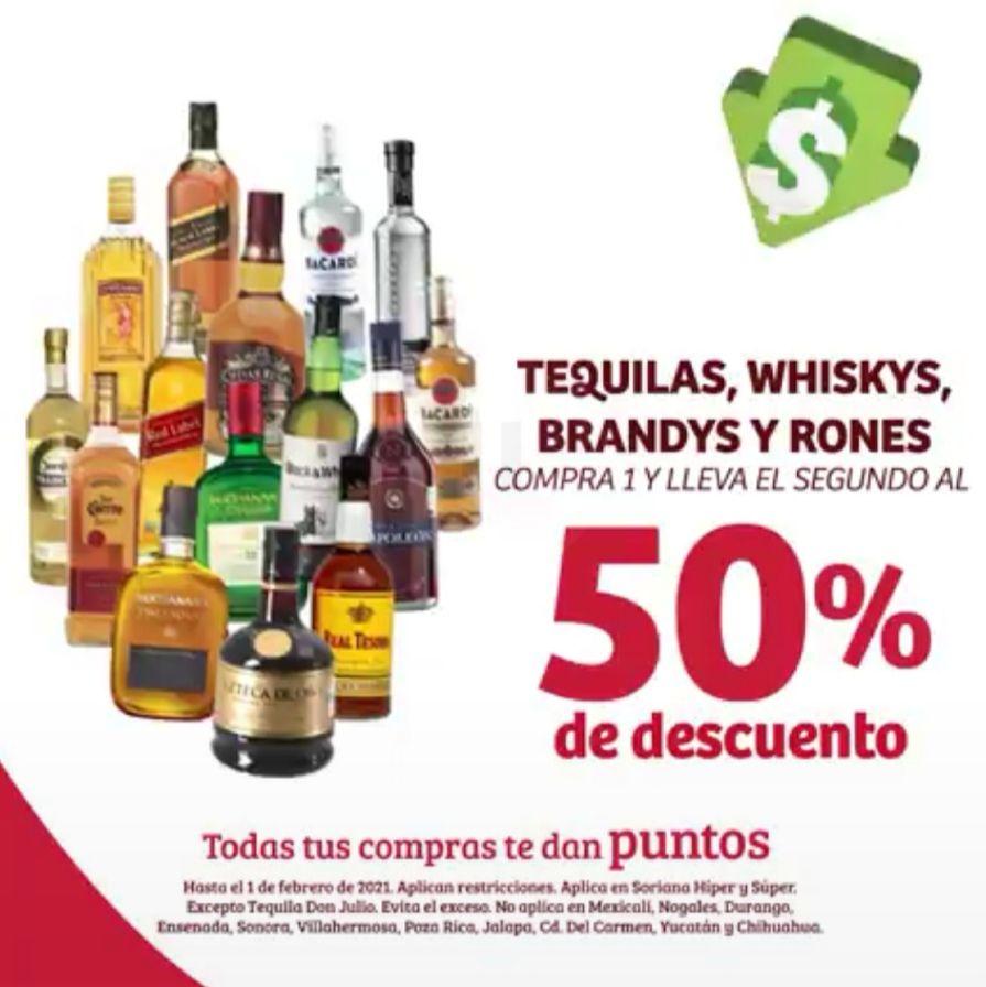 Soriana Híper y Súper: 2 x 1½ en tequilas, whiskys, brandys y rones