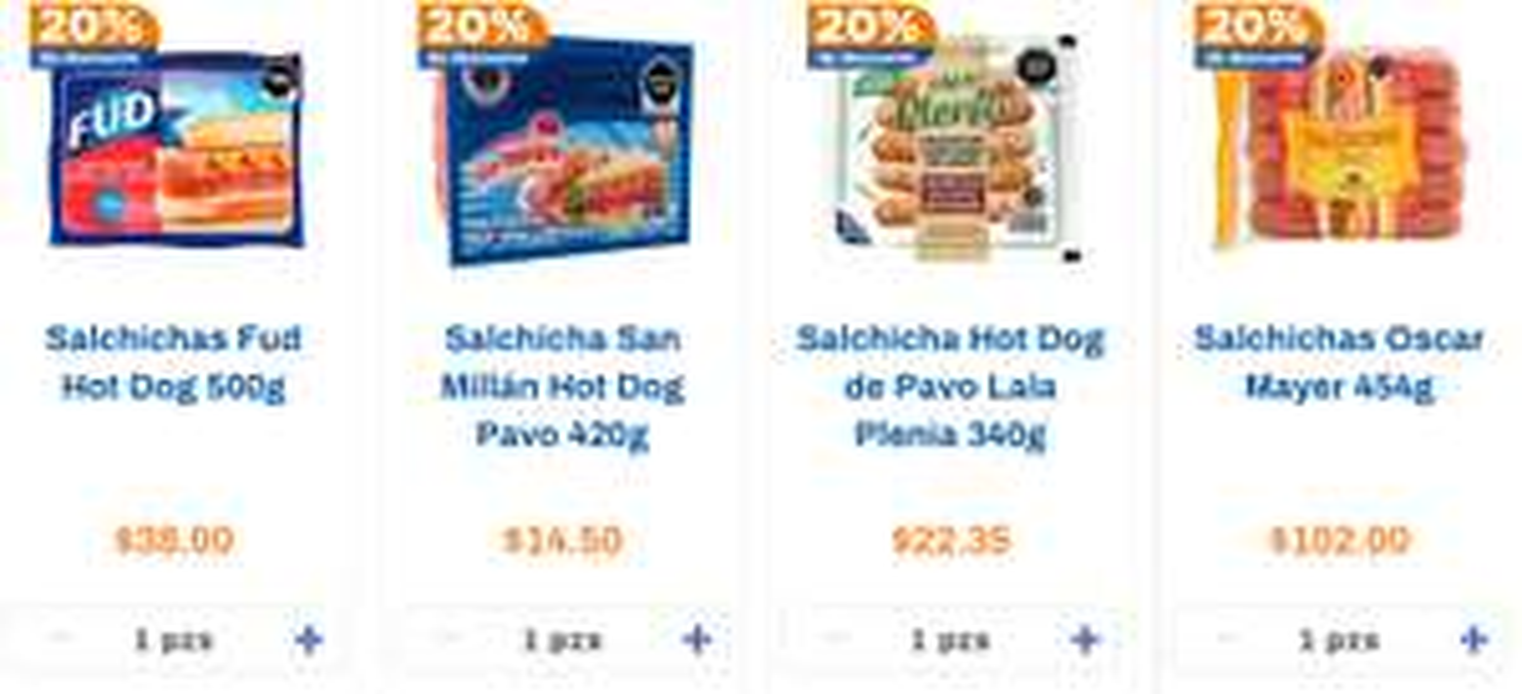 Chedraui 20% salchichas para asar, hot dog (empacadas)