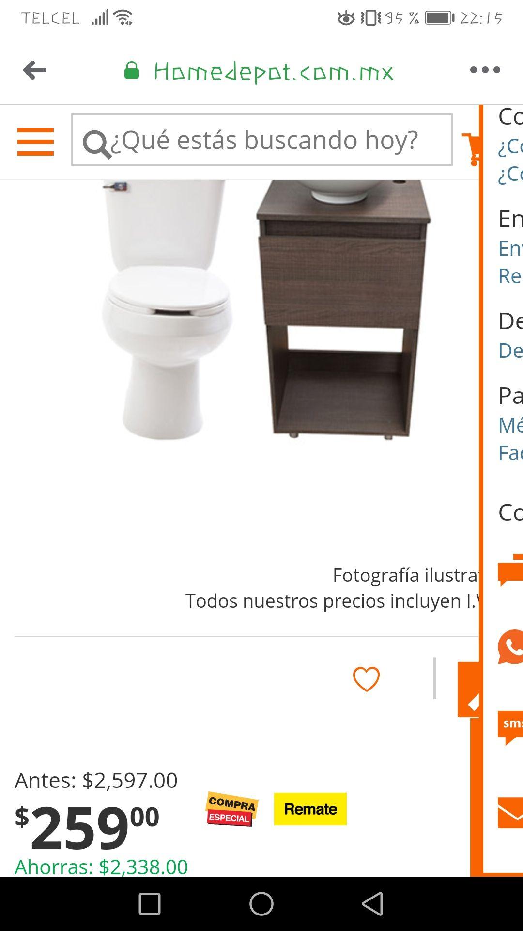 HOME DEPOT: PAQUETE SANITARIO ALARGADO 4.8 L CON LAVABO Y MUEBLE PARA BAÑO