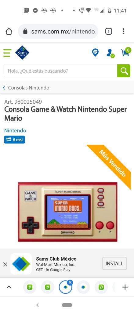 Sam's :Consola Game & Watch Nintendo Super Mario pagando con debito