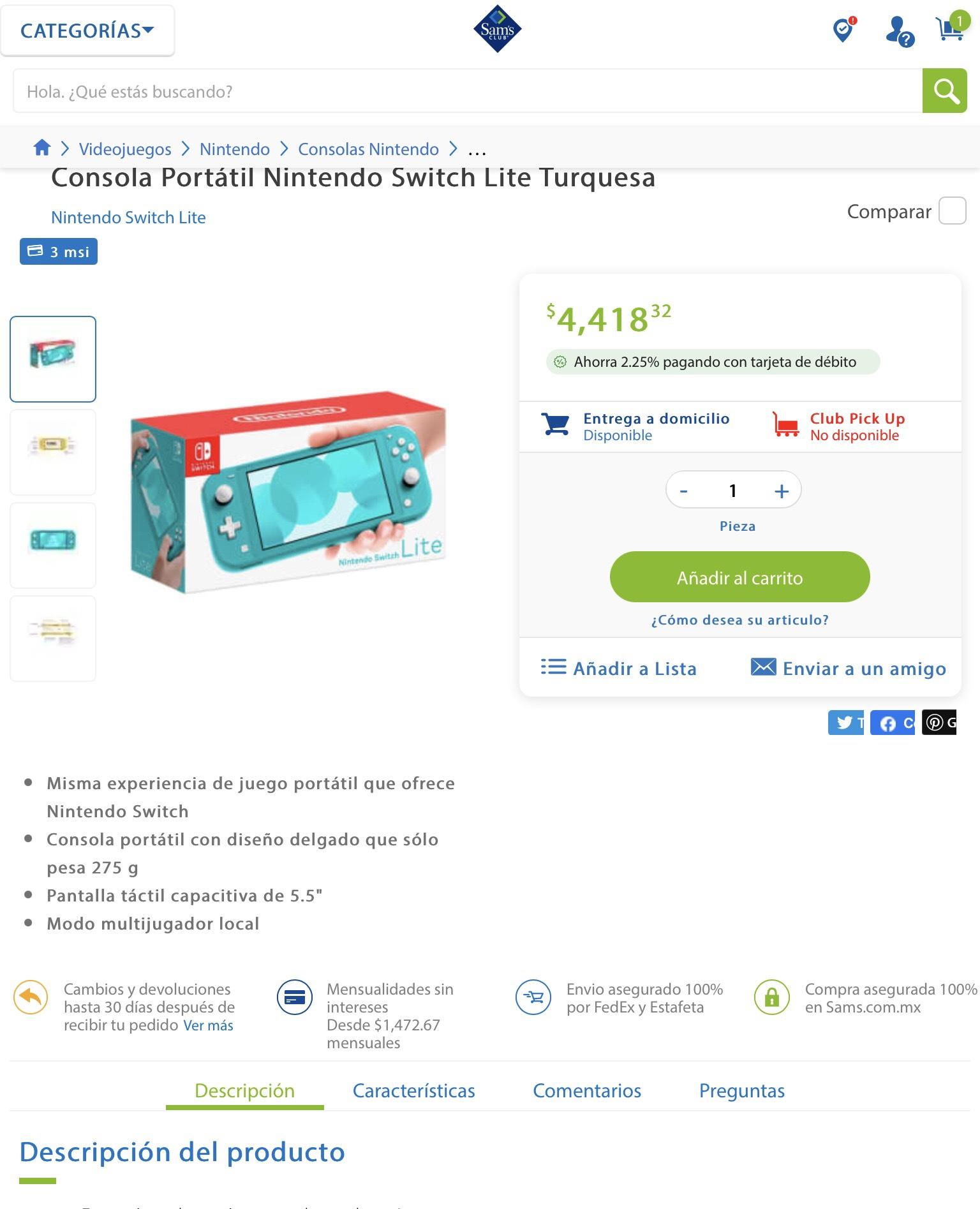 Nintendo Swith Lite color turquesa en Sam's