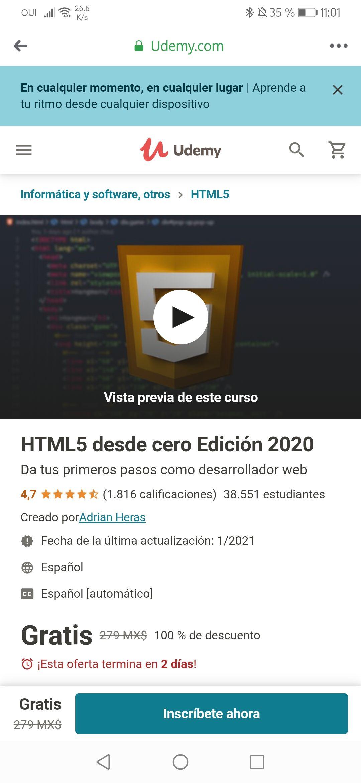 Udemy, HTML5 desde cero Edición 2020