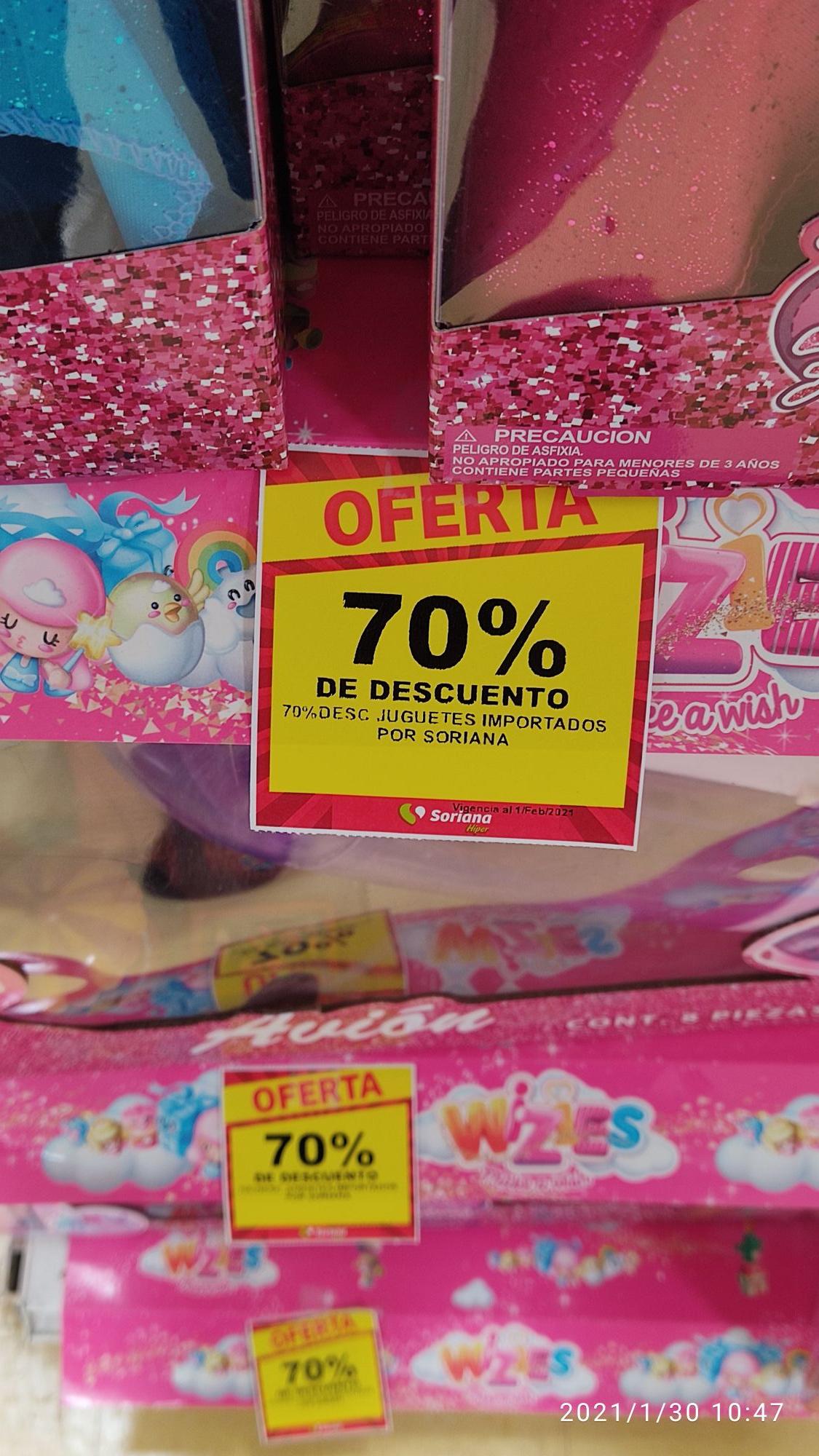 70% descuento en juguetes Importados Soriana