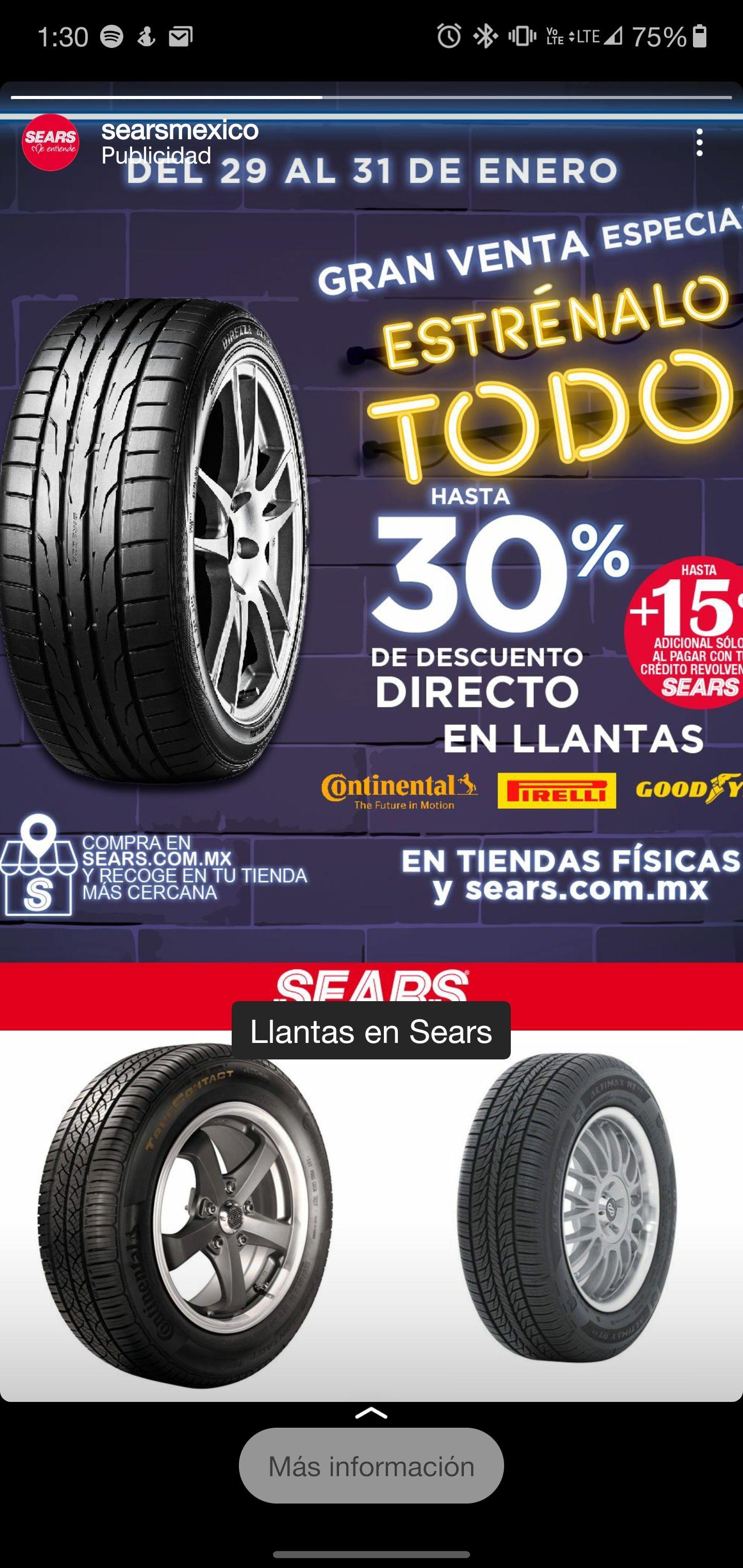 Sears: Llantas hasta 30% descuento