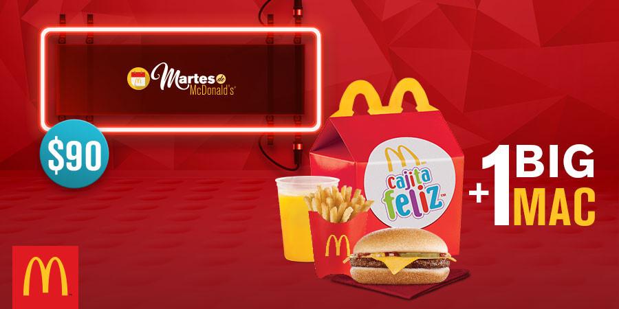 Martes de McDonald's: Cajita Feliz + Big Mac por $90 y 6 Hot Cakes por $30
