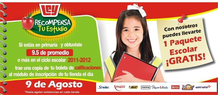 Tiendas Ley: paquete escolar gratis con promedio de 9.5