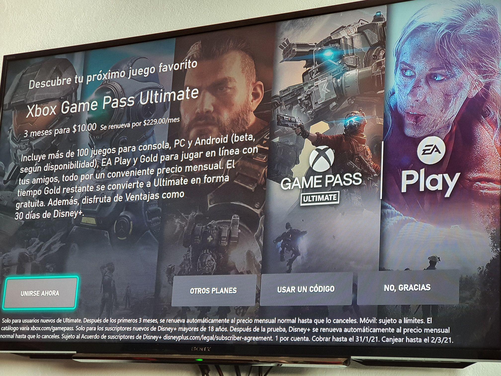 Xbox: game pass a solo 10 pesitos 3 meses