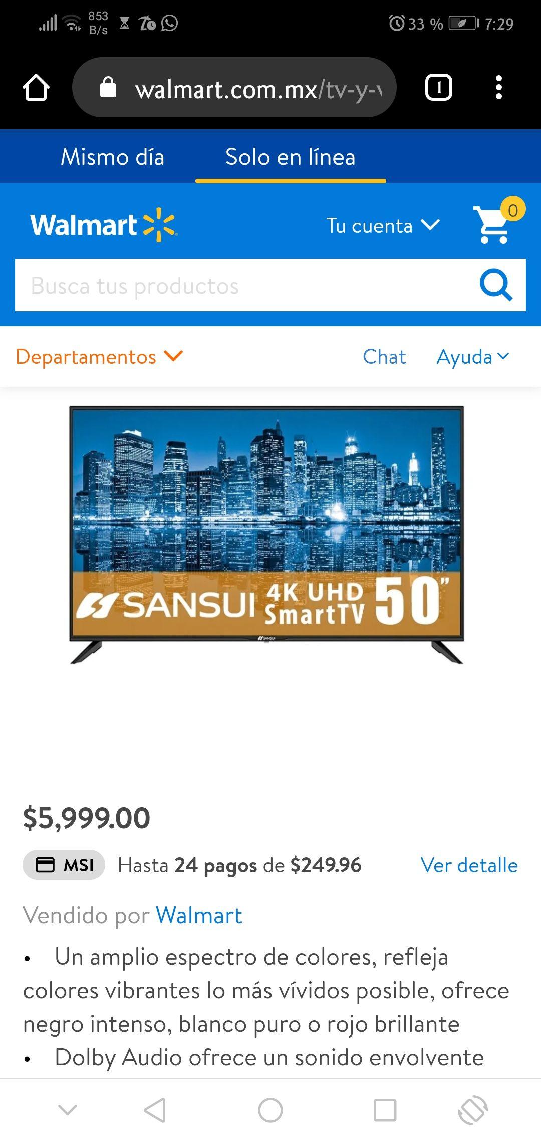 "Walmart: Smart TV Sansui 50"""
