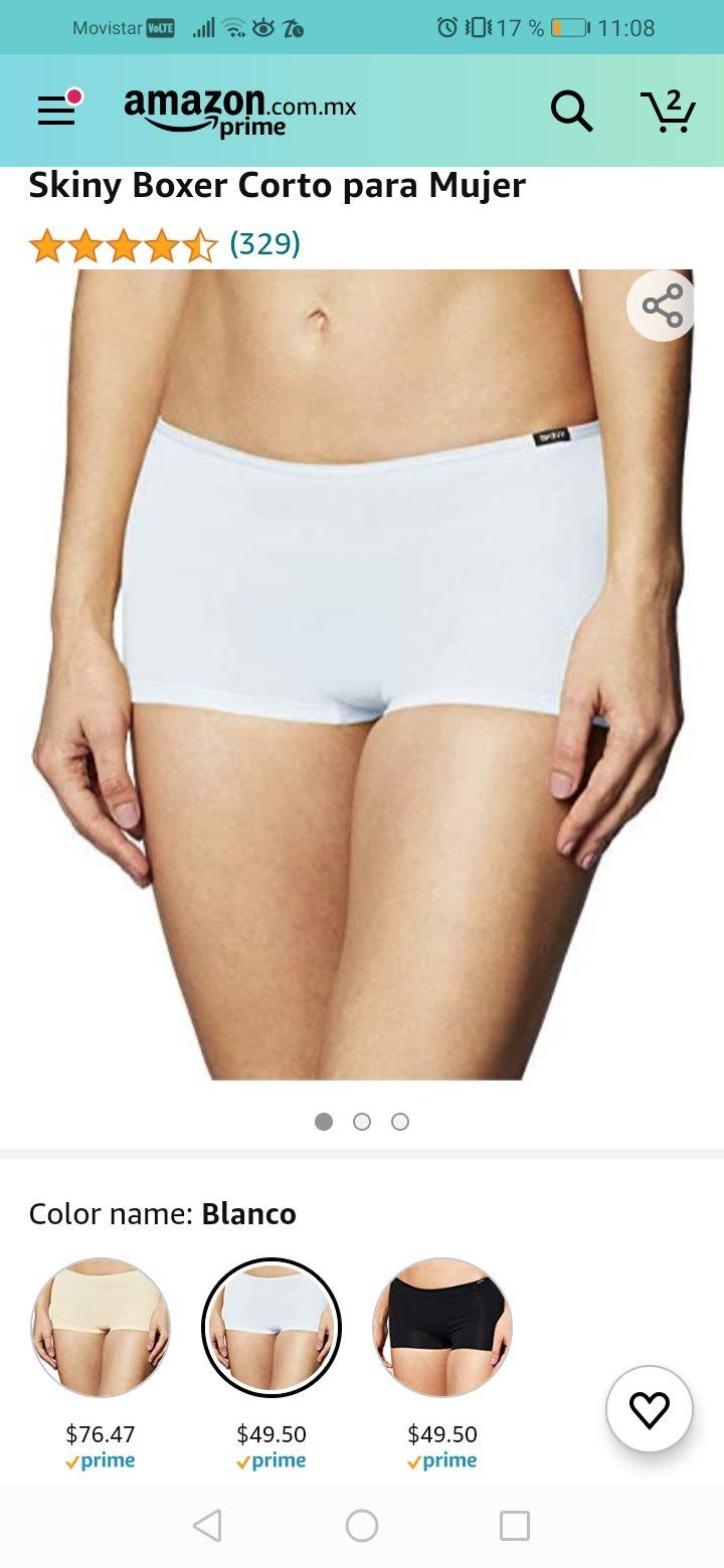 Amazon Skiny Boxer Corto para Mujer Talla grande blanco