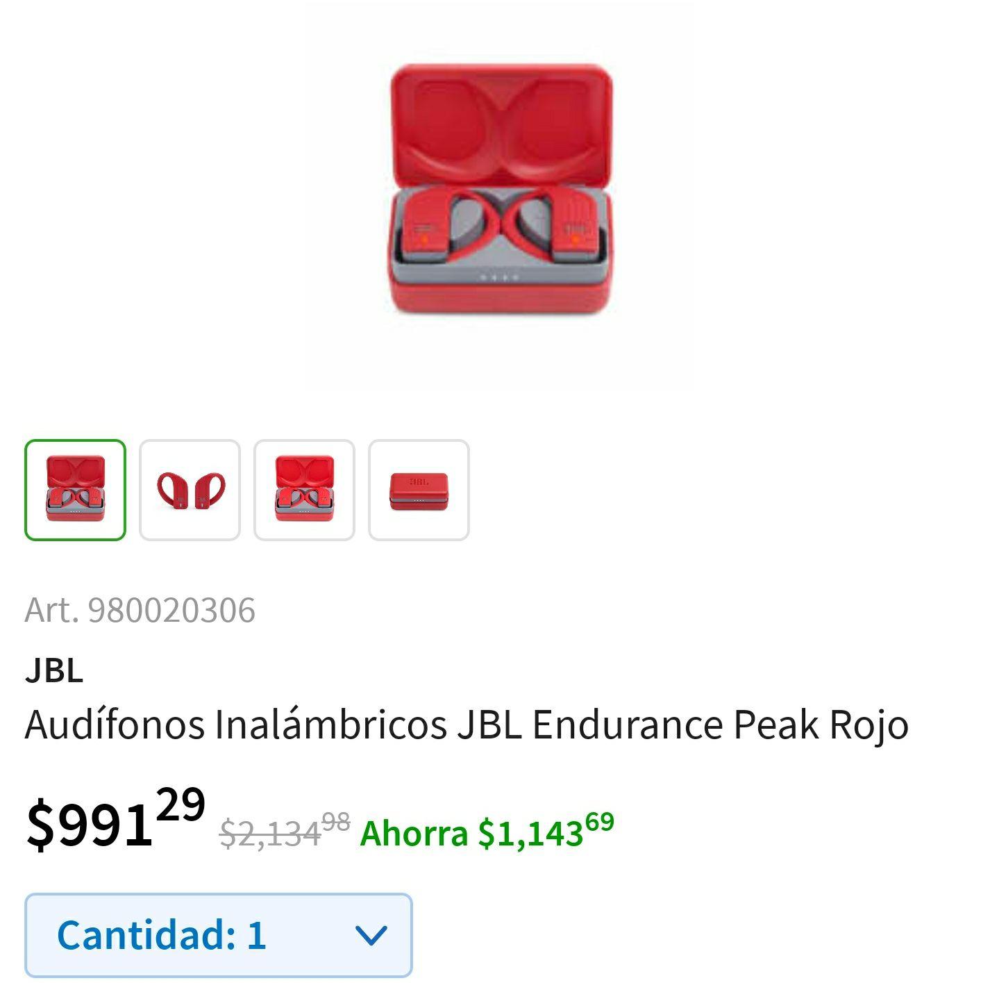 Sams León López Mateos: Audífonos Inalámbricos JBL Endurance Peak Rojo
