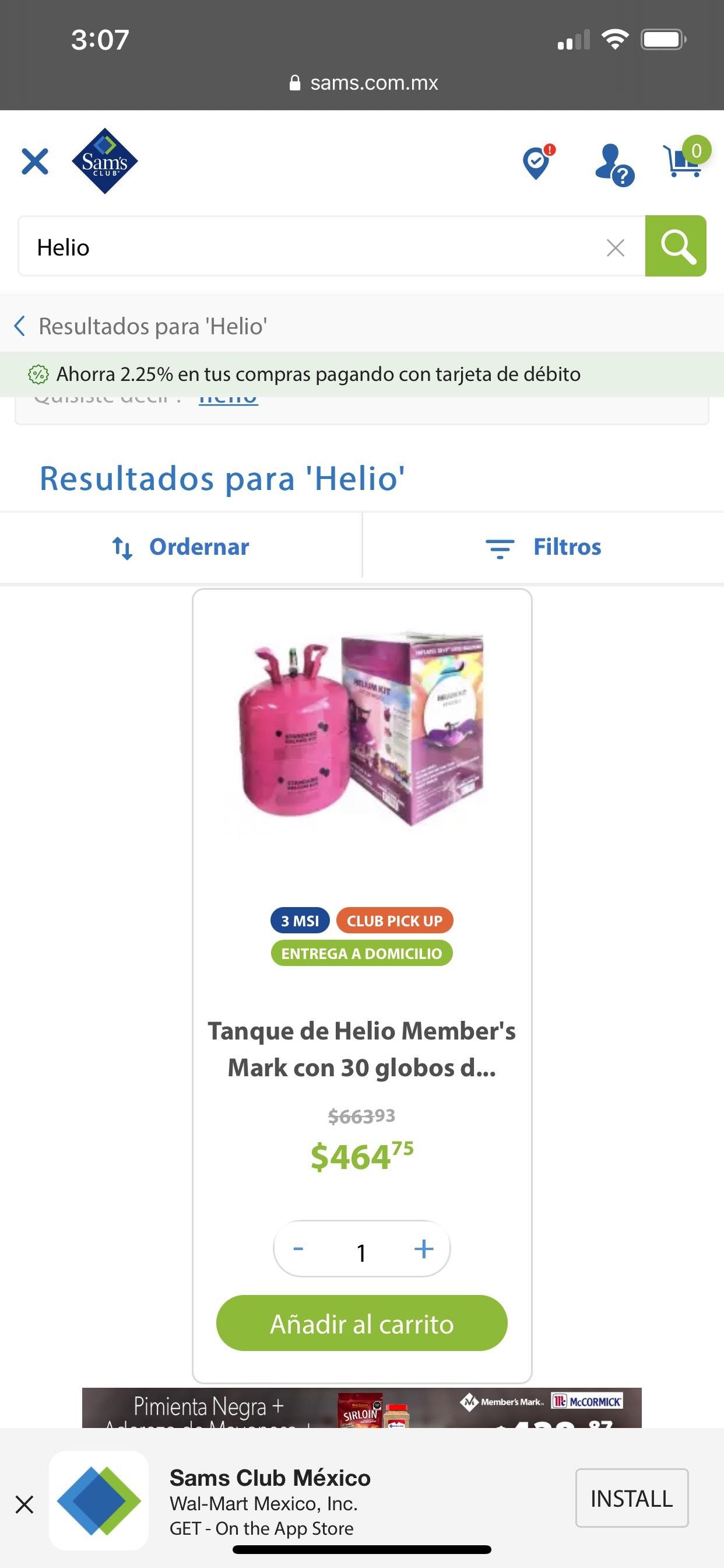 SAMS - Tanque de Helio Member's Mark con 30 globos de latex