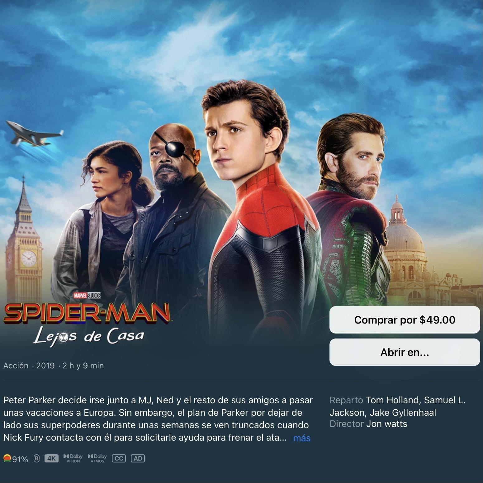 iTunes: Spider-Man: Lejos De Casa