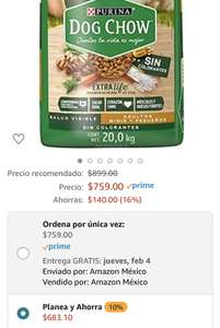 Amazon: Dog Chow sin Colorantes con Extralife Adultos Minis y Pequeños 20kg, Pollo