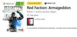 Xbox: Red faction armageddon gratis desde korea para Xbox One