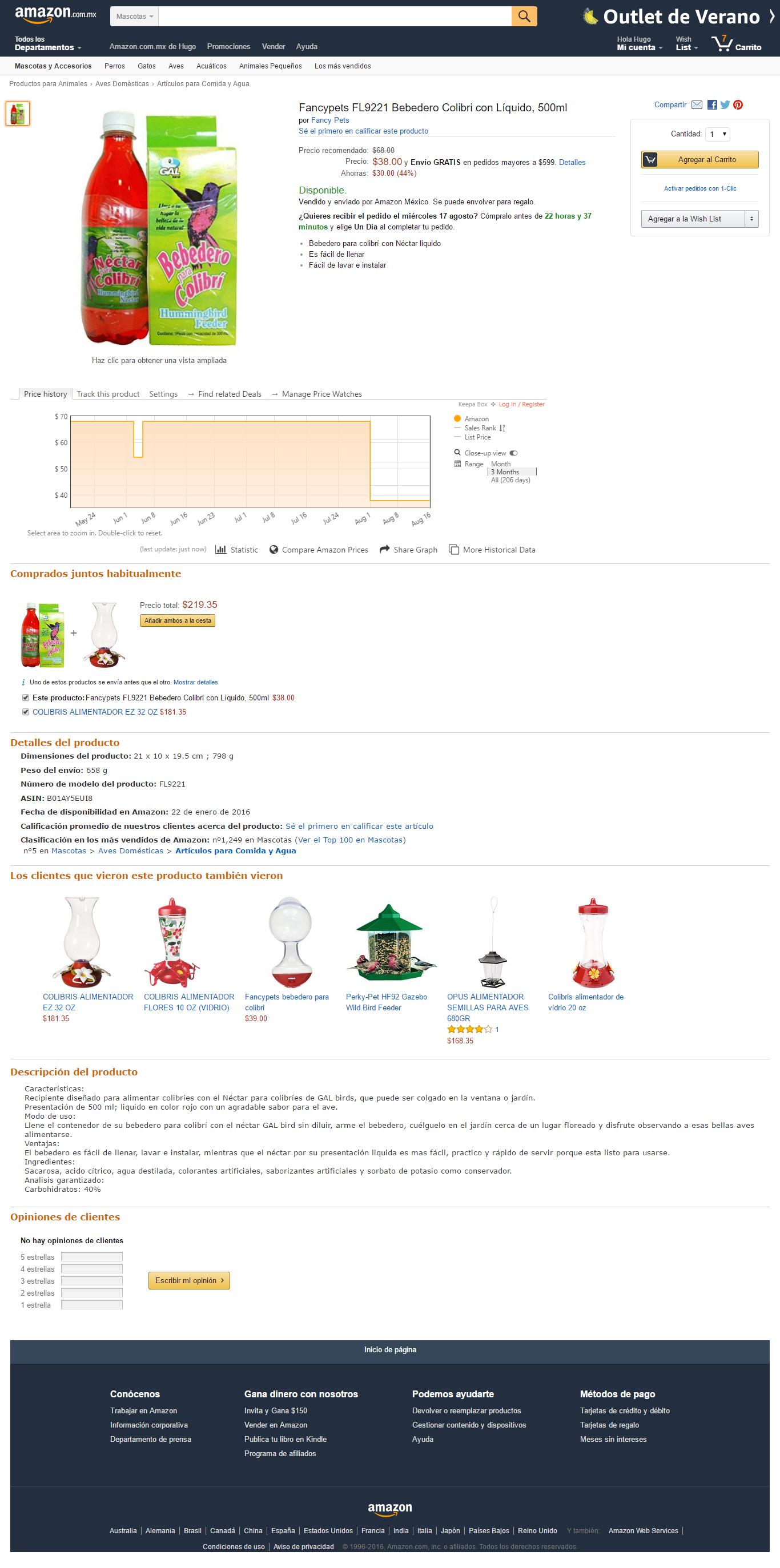 Amazon: líquido para colibries con bebedero