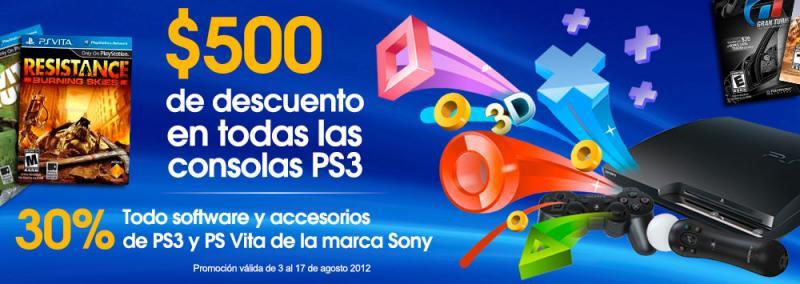 30% de descuento en juegos y accesorios de PS3 y PS Vita y descuento en consolas PS3
