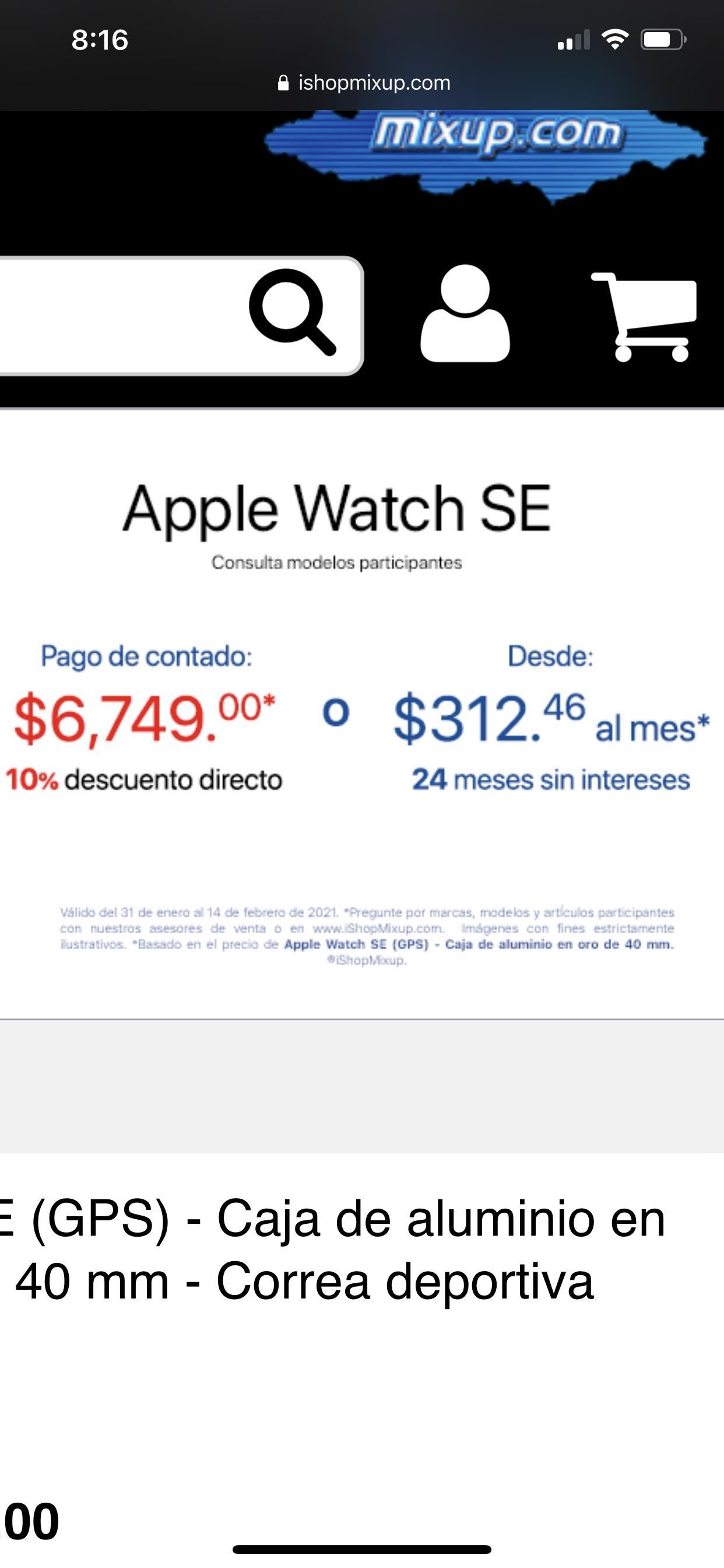 iShop Mixup: Apple Watch SE con 10% de descuento