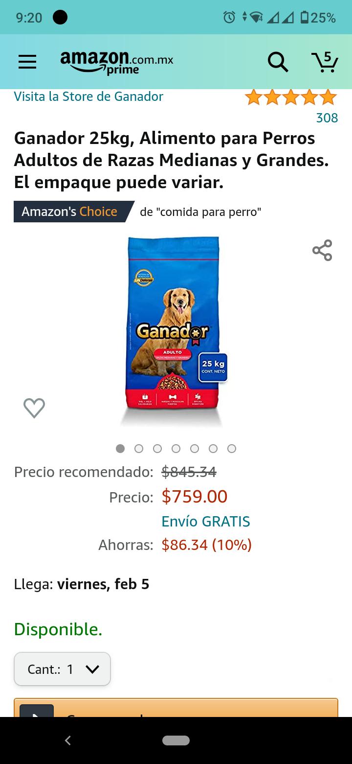 Amazon - Croqueta Ganador Adulto 25Kg razas medianas y grandes