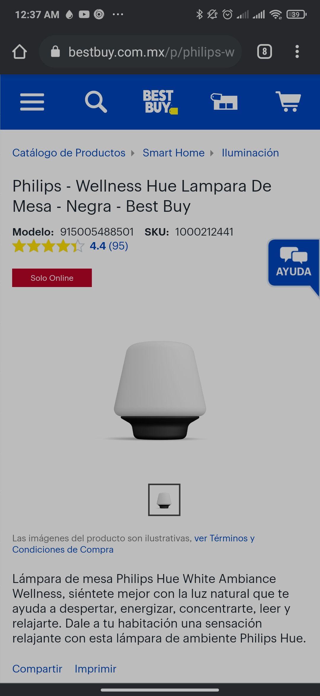Philips - Wellness Hue Lampara De Mesa - Negra - Best Buy