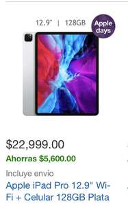"Costco: Apple iPad Pro 12.9"" Wi-Fi + Celular 128GB Plata"