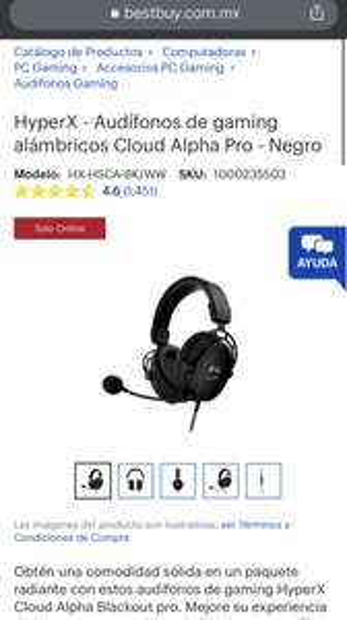 Best Buy: Audífonos gamer HyperX Cloud Alpha Pro