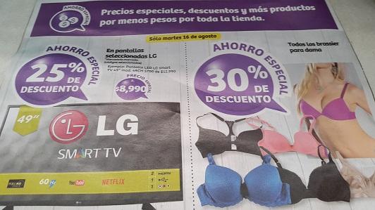 Soriana Híper: Sólo hoy Martes: Pantallas Seleccionadas LG 25% de descuento; Todos los brassiers para dama 30% de descuento