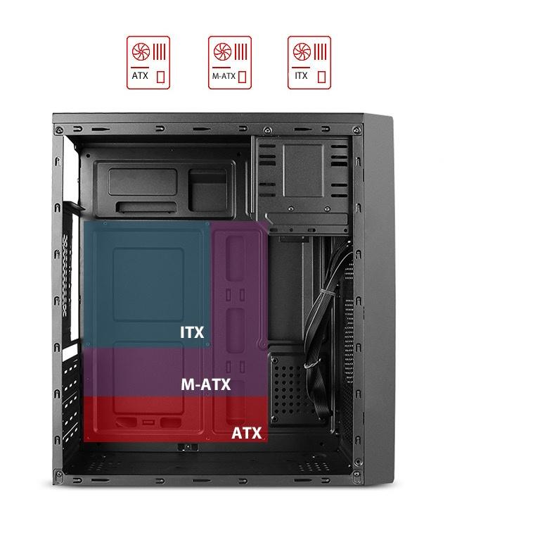 Cyberpuerta: Gabinete Stylos ATX/Micro ATX/Mini ITX USB 3.0, con fuente de 500W, Negro