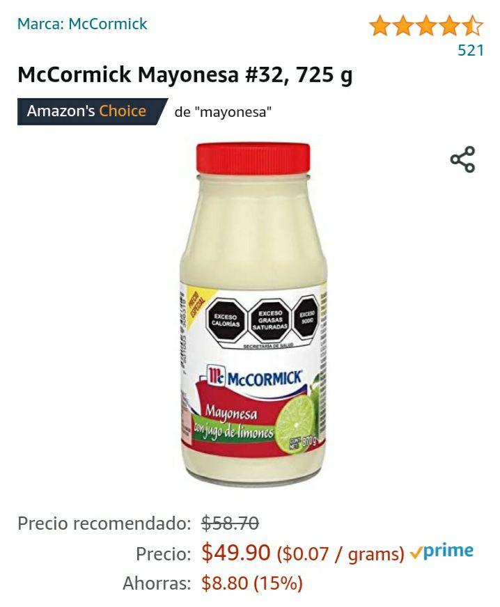 Amazon: McCormick Mayonesa 725 g
