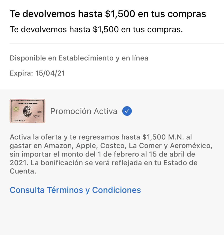 American Express: Bonificación de 1,500 en Amazon, Apple, Costco, La Comer y Aeromexico