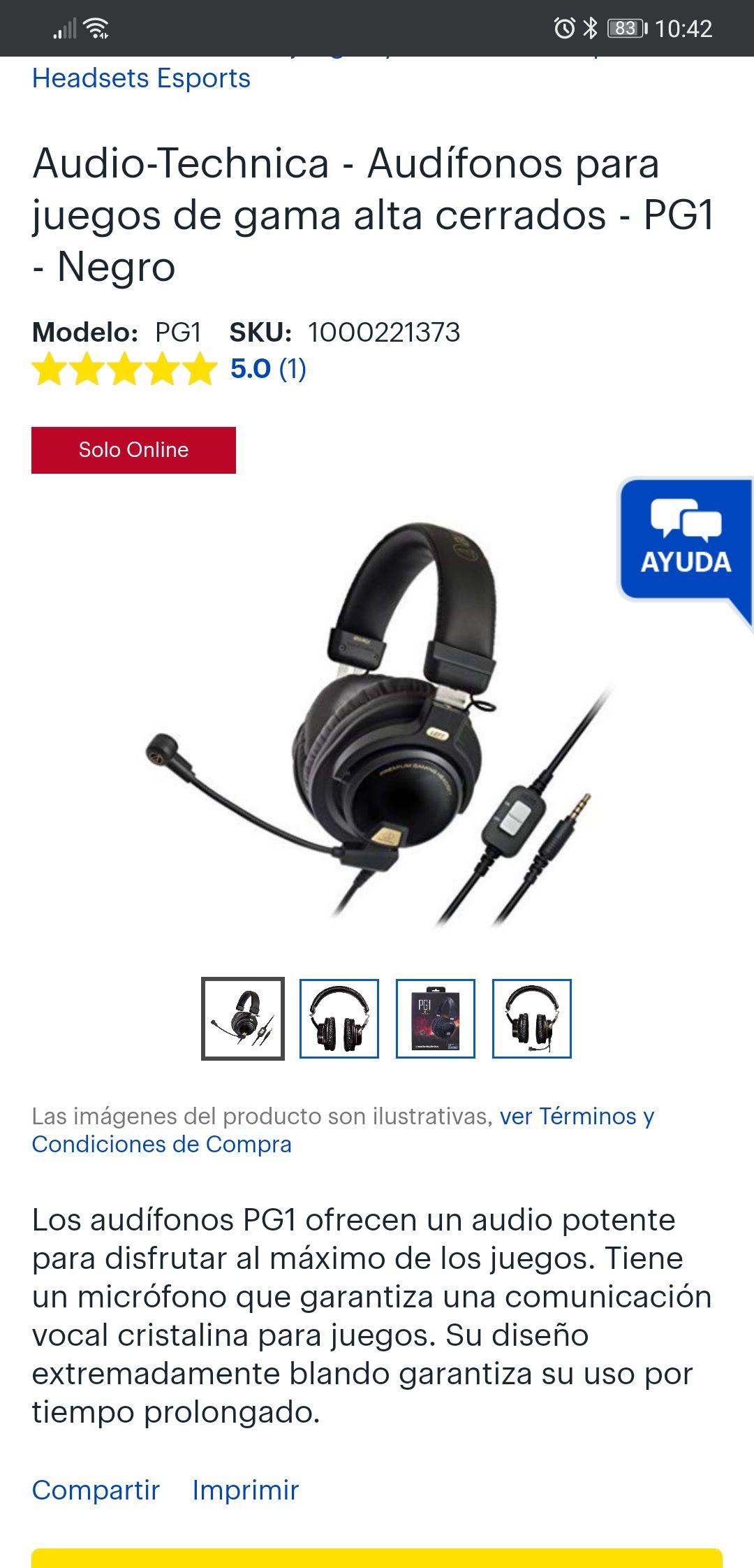 Best Buy: Audifonos Audio Technica pg1 gaming