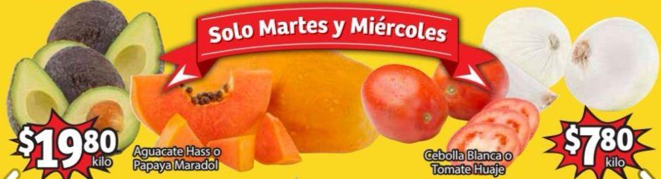 Soriana Mercado y Express: Frescura de Mercado 2 y 3 Febrero: Jitomate ó Cebolla $7.80 kg... Aguacate $19.80 kg.