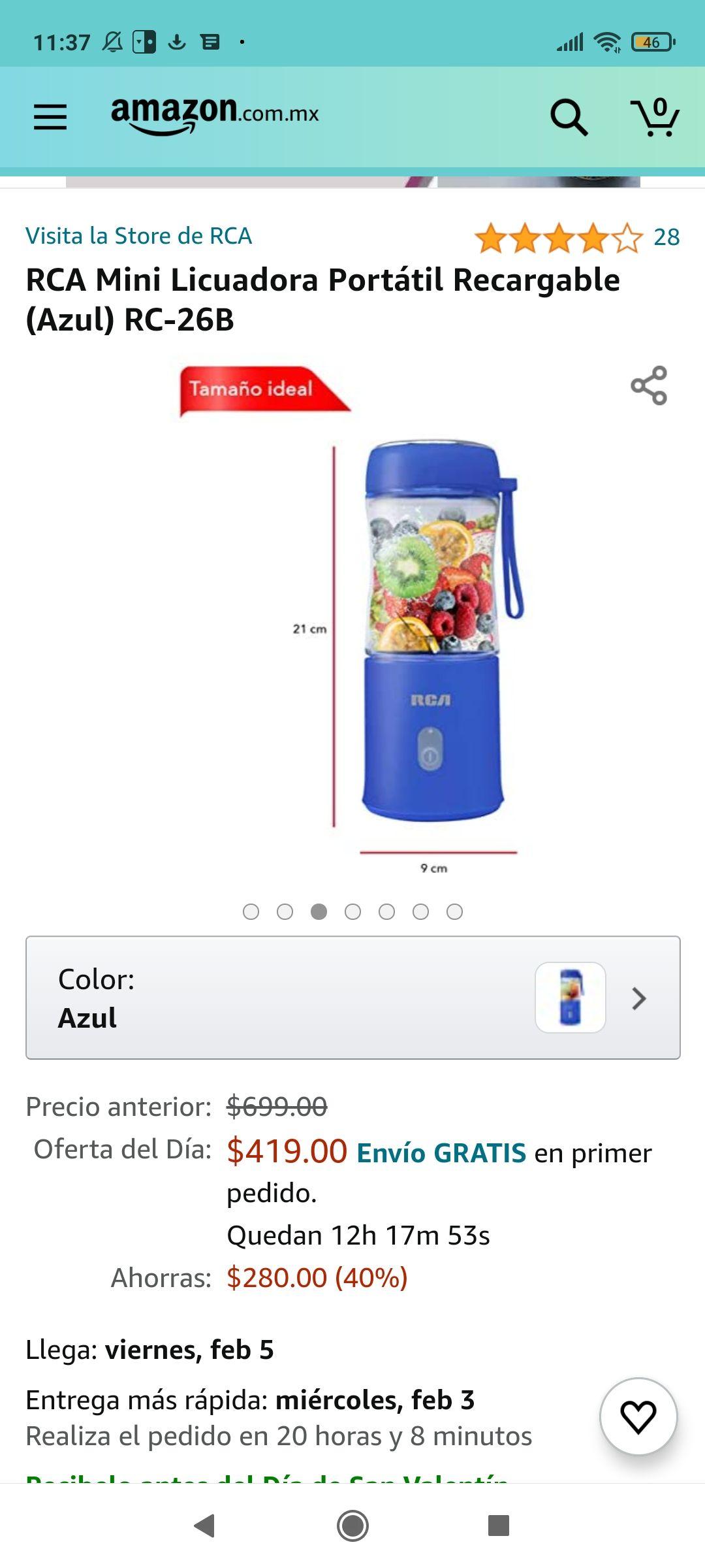 Amazon: Mini Licuadora Portátil Recargable (Azul)