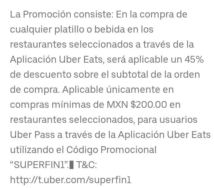 45% de descuento Uber Eats máximo descuentos 95 pesos se necesita Uber Pass