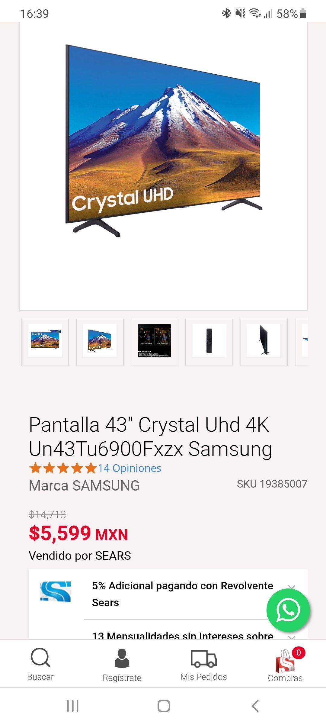 """Sears: SmartTV Samsung 43"""" TU6900"""