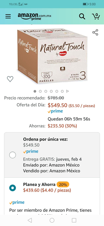 Amazon envío gratis con prime Oferta del día: Natural Touch by Huggies, Pañal Desechable para bebé, Unisex, Etapa 3,