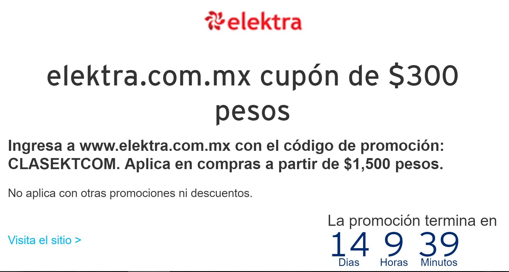 Elektra en línea: cupón de $300 de descuento en compras mínimas de $1,500 -Solo en la App- con Banamex Clasica