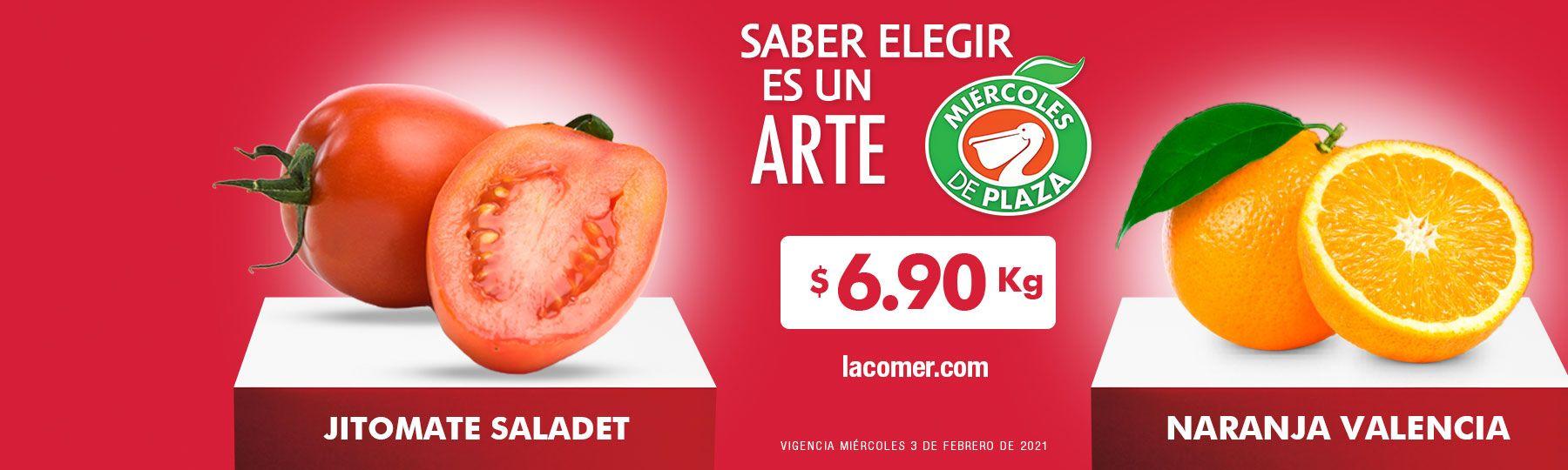 La Comer y Fresko: Miércoles de Plaza 3 de Febrero: Jitomate ó Naranja $6.90 kg... Manzana Gala ó Durazno $36.90 kg.