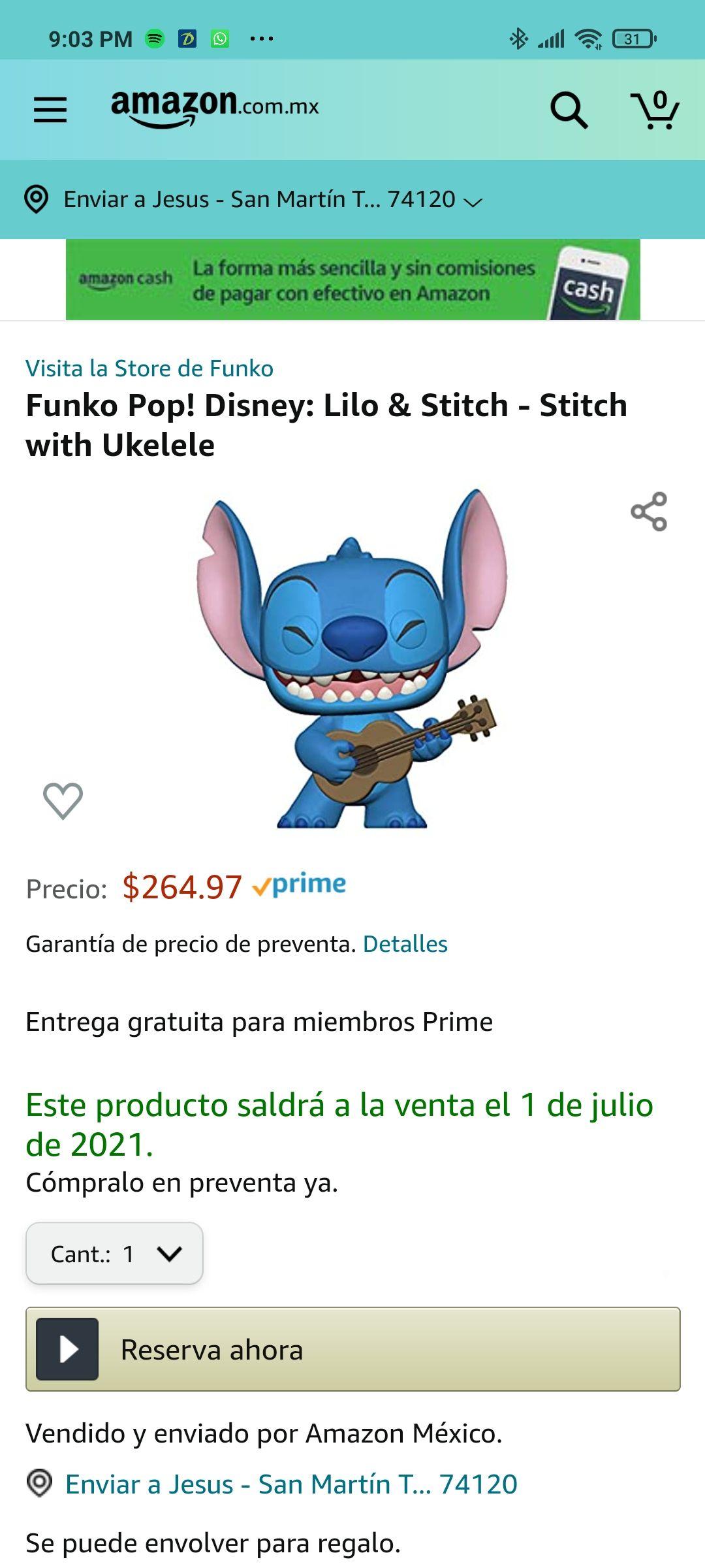 Amazon: Funko Pop! Disney: Lilo & Stitch - Stitch with Ukelele